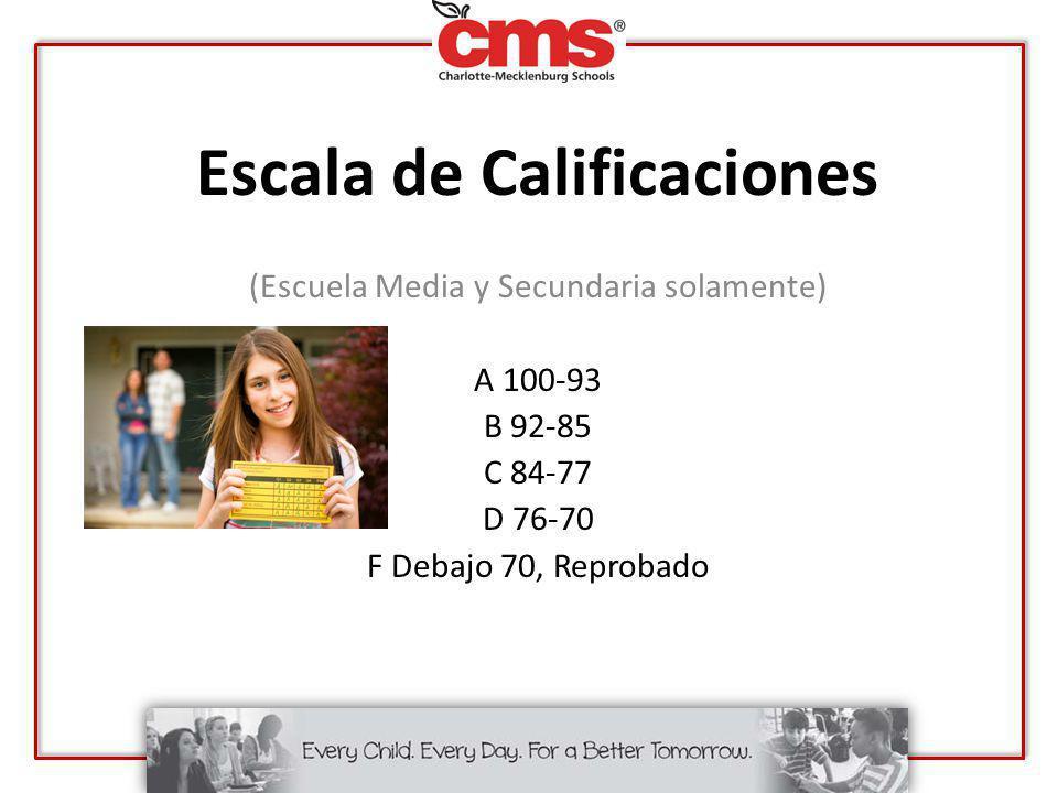 Escala de Calificaciones (Escuela Media y Secundaria solamente) A 100-93 B 92-85 C 84-77 D 76-70 F Debajo 70, Reprobado
