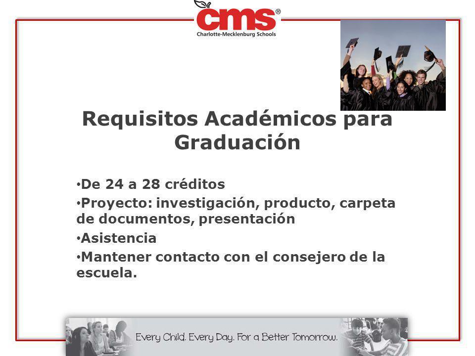 Requisitos Académicos para Graduación De 24 a 28 créditos Proyecto: investigación, producto, carpeta de documentos, presentación Asistencia Mantener c