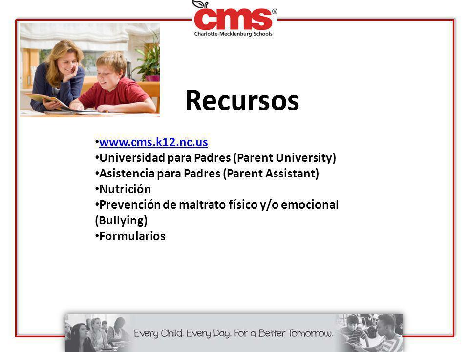Recursos www.cms.k12.nc.us Universidad para Padres (Parent University) Asistencia para Padres (Parent Assistant) Nutrición Prevención de maltrato físi
