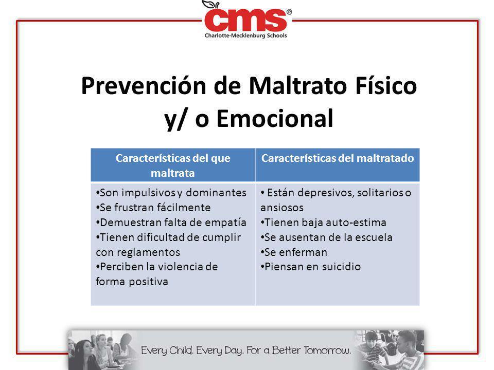 Prevención de Maltrato Físico y/ o Emocional Características del que maltrata Características del maltratado Son impulsivos y dominantes Se frustran f