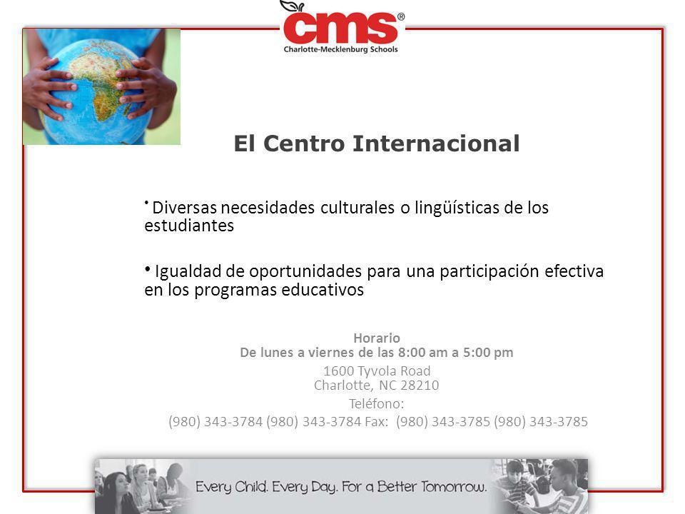 El Centro Internacional Diversas necesidades culturales o lingüísticas de los estudiantes Igualdad de oportunidades para una participación efectiva en