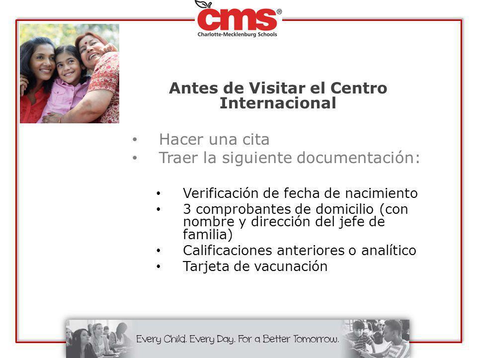 Antes de Visitar el Centro Internacional Hacer una cita Traer la siguiente documentación: Verificación de fecha de nacimiento 3 comprobantes de domici
