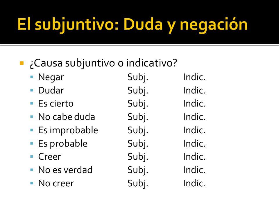 ¿Causa subjuntivo o indicativo? NegarSubj.Indic. DudarSubj.Indic. Es ciertoSubj.Indic. No cabe dudaSubj.Indic. Es improbableSubj.Indic. Es probableSub