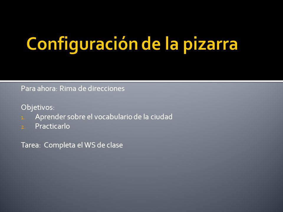 Para ahora: Rima de direcciones Objetivos: 1. Aprender sobre el vocabulario de la ciudad 2. Practicarlo Tarea: Completa el WS de clase