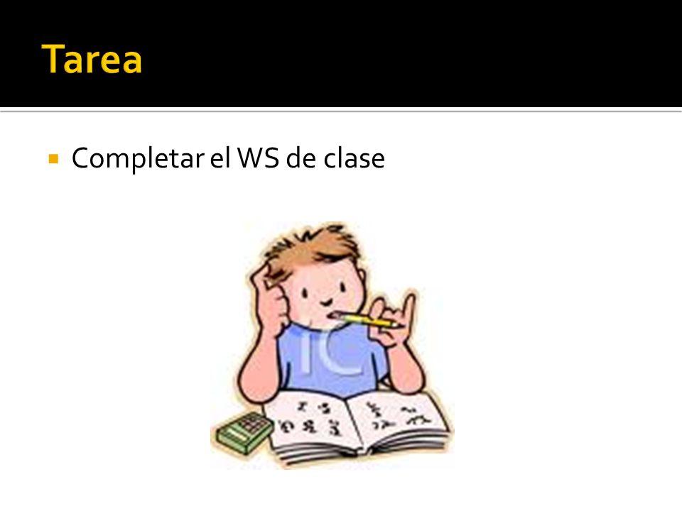 Completar el WS de clase