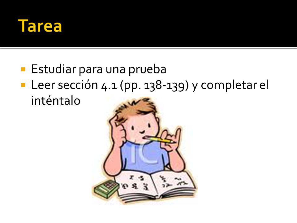 Estudiar para una prueba Leer sección 4.1 (pp. 138-139) y completar el inténtalo
