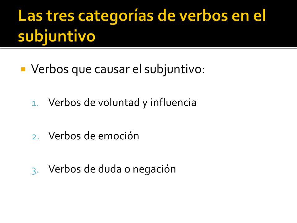 Verbos que causar el subjuntivo: 1. Verbos de voluntad y influencia 2. Verbos de emoción 3. Verbos de duda o negación