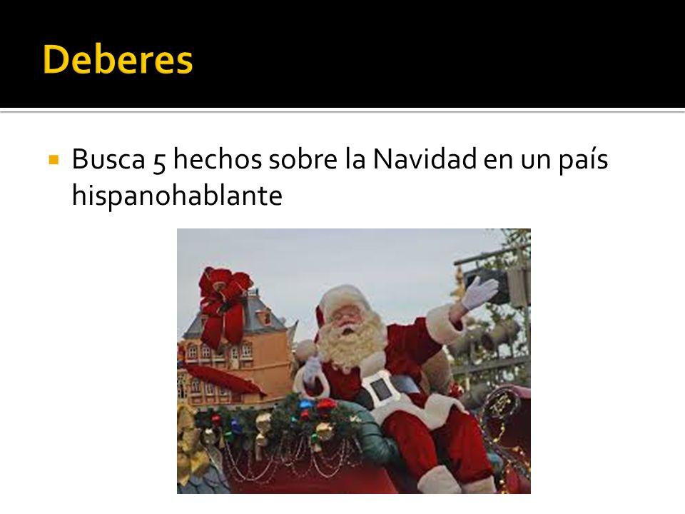 Busca 5 hechos sobre la Navidad en un país hispanohablante