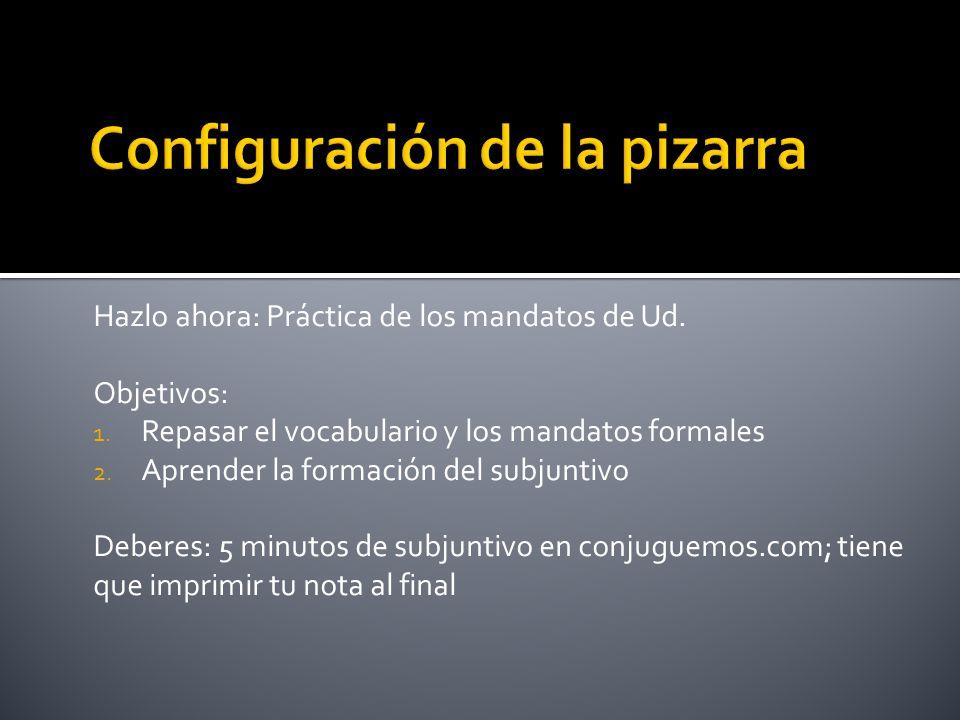Hazlo ahora: Práctica de los mandatos de Ud. Objetivos: 1. Repasar el vocabulario y los mandatos formales 2. Aprender la formación del subjuntivo Debe