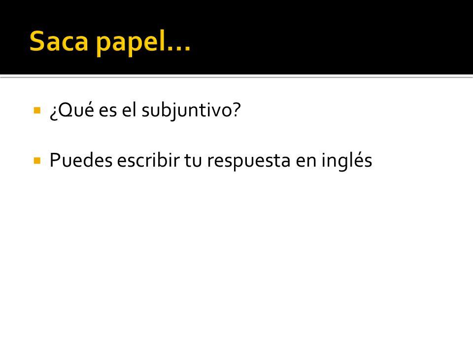 ¿Qué es el subjuntivo Puedes escribir tu respuesta en inglés