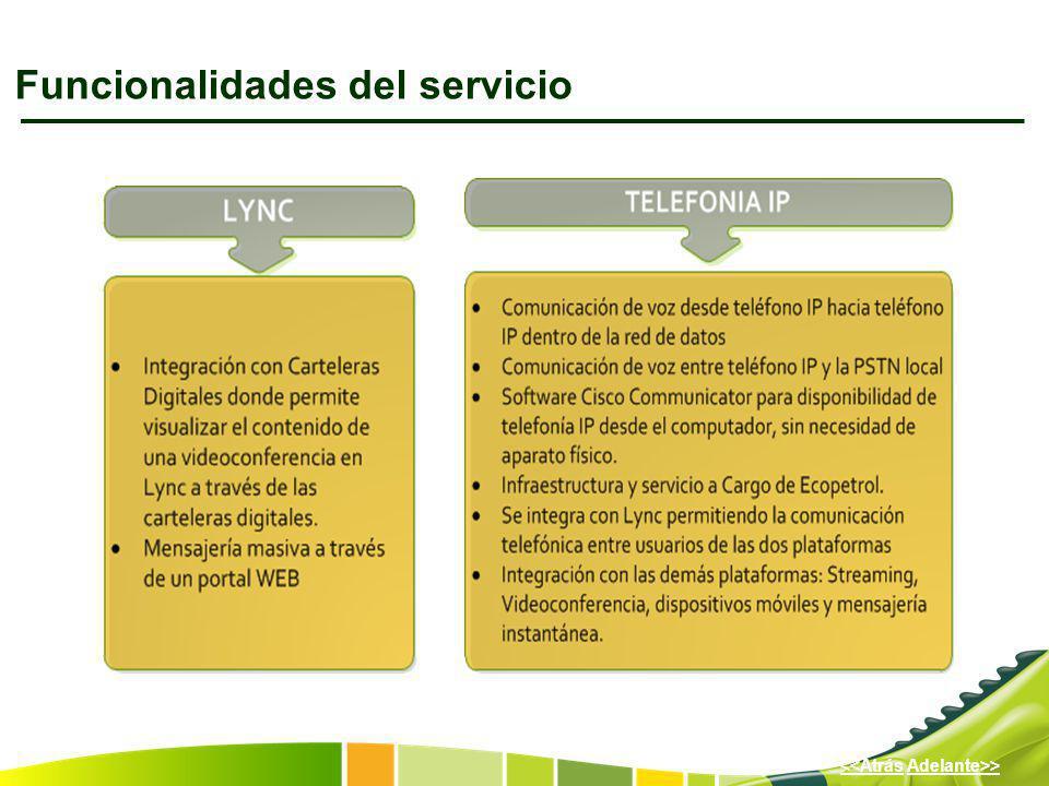 Adelante>><<Atrás Funcionalidades del servicio