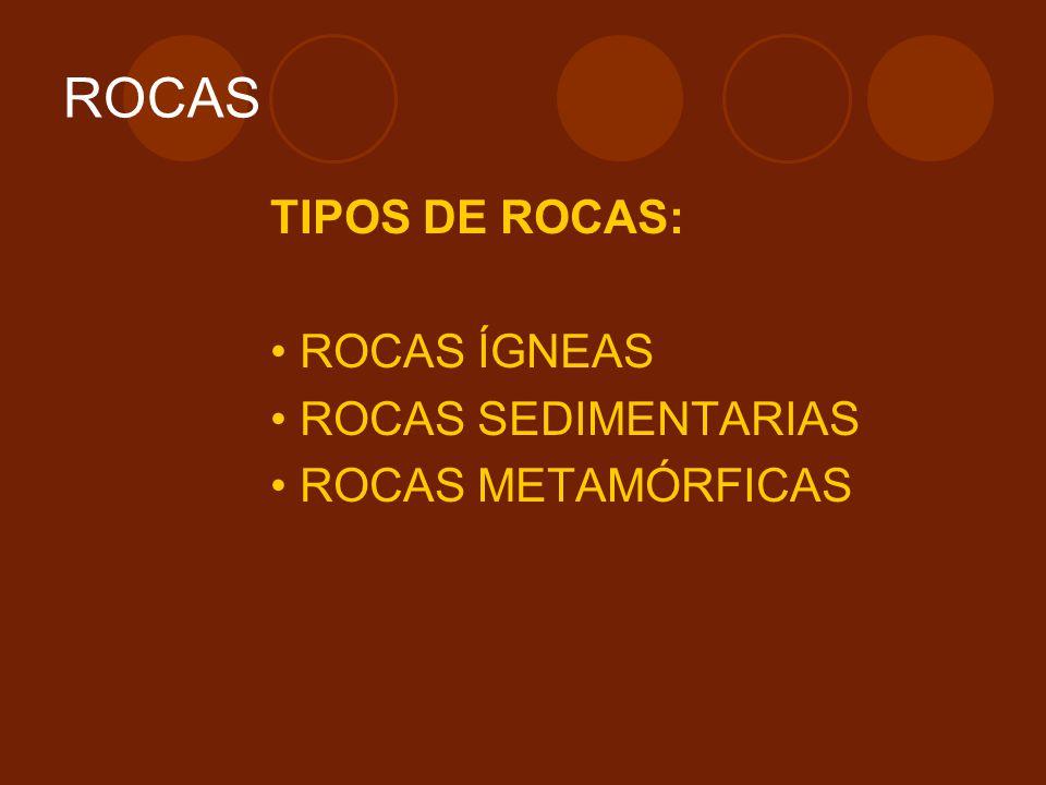ROCAS TIPOS DE ROCAS: ROCAS ÍGNEAS ROCAS SEDIMENTARIAS ROCAS METAMÓRFICAS