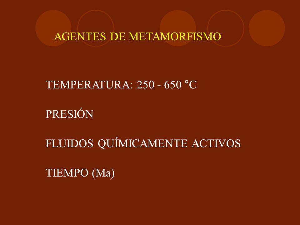 AGENTES DE METAMORFISMO TEMPERATURA: 250 - 650 °C PRESIÓN FLUIDOS QUÍMICAMENTE ACTIVOS TIEMPO (Ma)