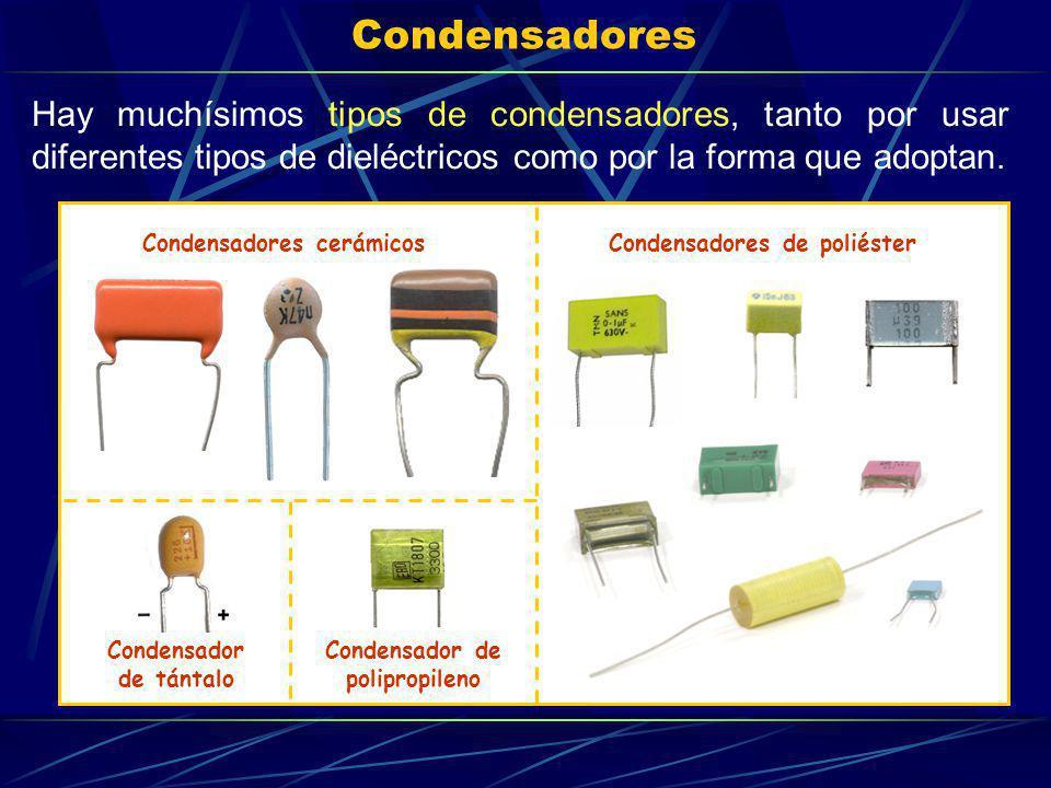 Condensadores Hay muchísimos tipos de condensadores, tanto por usar diferentes tipos de dieléctricos como por la forma que adoptan. Condensadores cerá