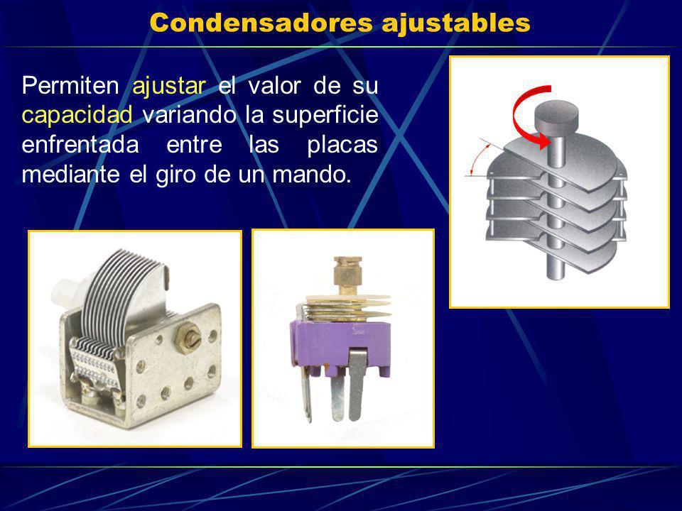 Condensadores ajustables Permiten ajustar el valor de su capacidad variando la superficie enfrentada entre las placas mediante el giro de un mando.