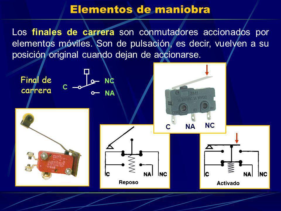 Elementos de maniobra Los finales de carrera son conmutadores accionados por elementos móviles. Son de pulsación, es decir, vuelven a su posición orig