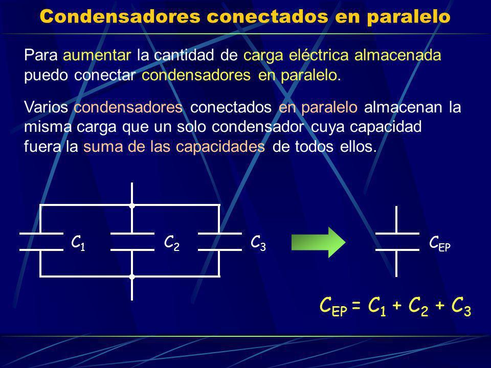 Condensadores conectados en paralelo Para aumentar la cantidad de carga eléctrica almacenada puedo conectar condensadores en paralelo. Varios condensa