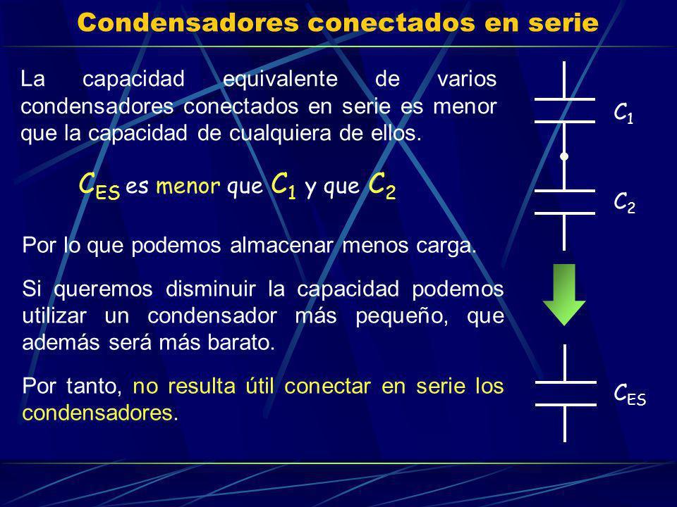 Condensadores conectados en serie La capacidad equivalente de varios condensadores conectados en serie es menor que la capacidad de cualquiera de ello