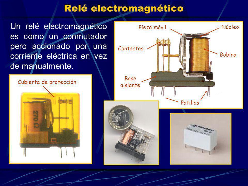 Relé electromagnético Un relé electromagnético es como un conmutador pero accionado por una corriente eléctrica en vez de manualmente. Bobina Pieza mó