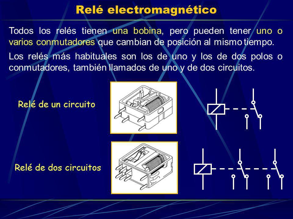 Relé electromagnético Todos los relés tienen una bobina, pero pueden tener uno o varios conmutadores que cambian de posición al mismo tiempo. Los relé