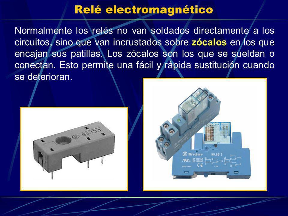 Relé electromagnético Normalmente los relés no van soldados directamente a los circuitos, sino que van incrustados sobre zócalos en los que encajan su