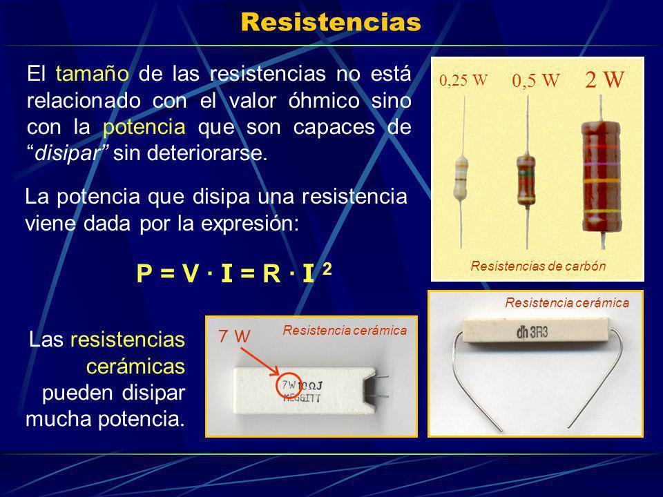 Resistencias El tamaño de las resistencias no está relacionado con el valor óhmico sino con la potencia que son capaces dedisipar sin deteriorarse. La