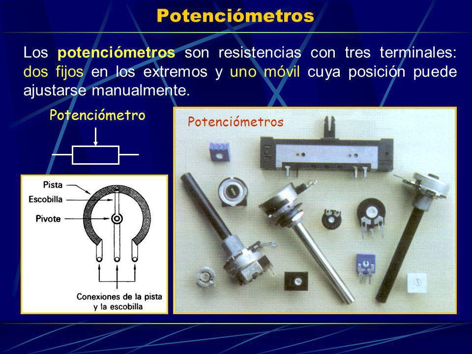 Potenciómetros Los potenciómetros son resistencias con tres terminales: dos fijos en los extremos y uno móvil cuya posición puede ajustarse manualment