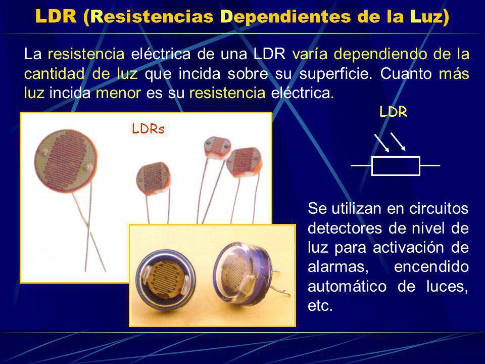 LDR ( Resistencias Dependientes de la Luz ) La resistencia eléctrica de una LDR varía dependiendo de la cantidad de luz que incida sobre su superficie