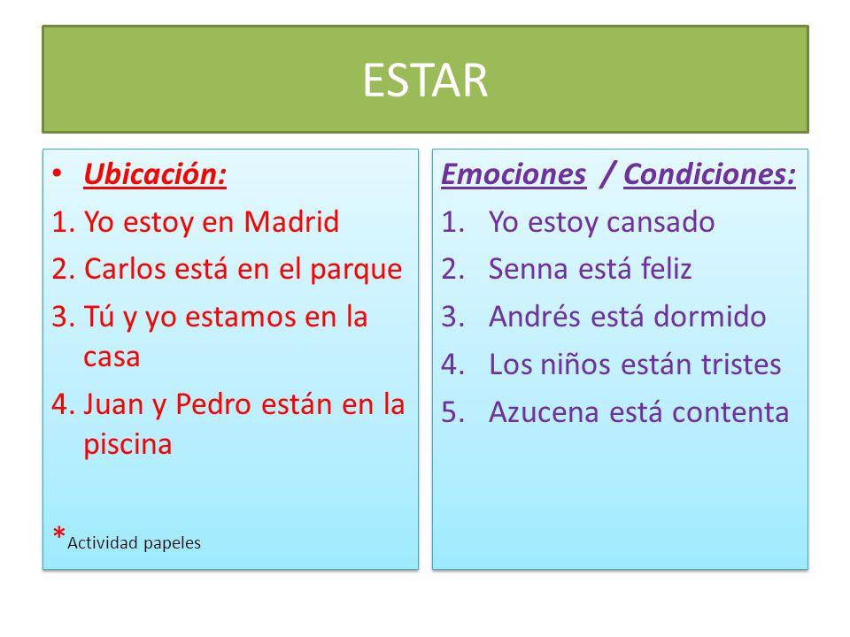ESTAR Ubicación: 1. Yo estoy en Madrid 2. Carlos está en el parque 3. Tú y yo estamos en la casa 4. Juan y Pedro están en la piscina * Actividad papel