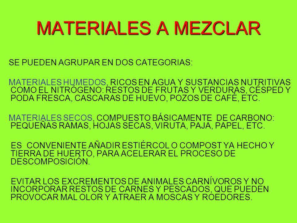 MATERIALES A MEZCLAR SE PUEDEN AGRUPAR EN DOS CATEGORIAS: MATERIALES HUMEDOS, RICOS EN AGUA Y SUSTANCIAS NUTRITIVAS COMO EL NITRÓGENO: RESTOS DE FRUTA