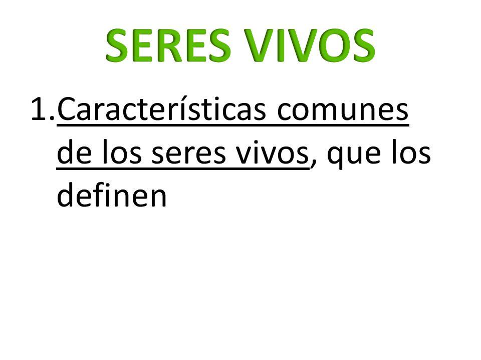 1.Características comunes de los seres vivos, que los definen