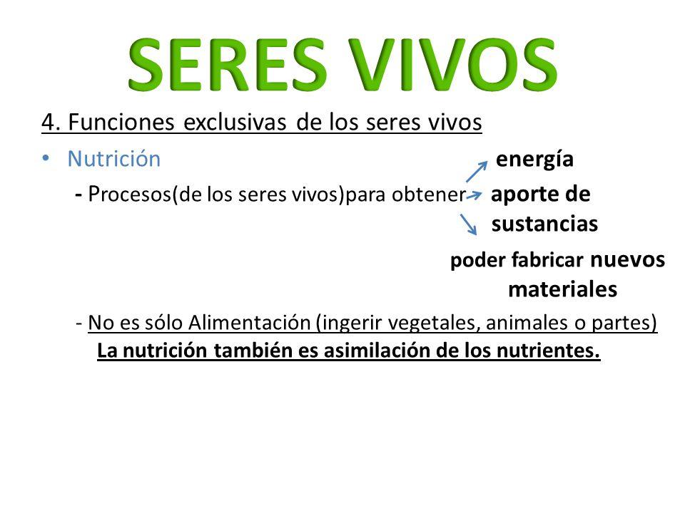 4. Funciones exclusivas de los seres vivos Nutrición energía - P rocesos(de los seres vivos)para obtener aporte de sustancias poder fabricar nuevos ma