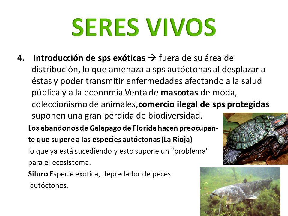 4. Introducción de sps exóticas fuera de su área de distribución, lo que amenaza a sps autóctonas al desplazar a éstas y poder transmitir enfermedades