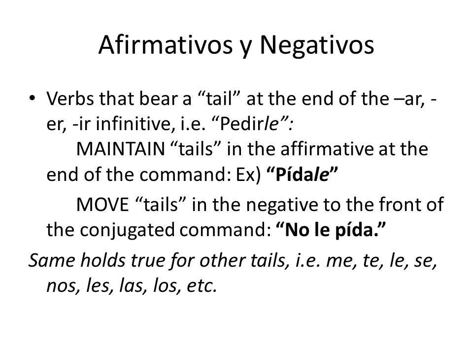 Afirmativos y Negativos Verbs that bear a tail at the end of the –ar, - er, -ir infinitive, i.e.