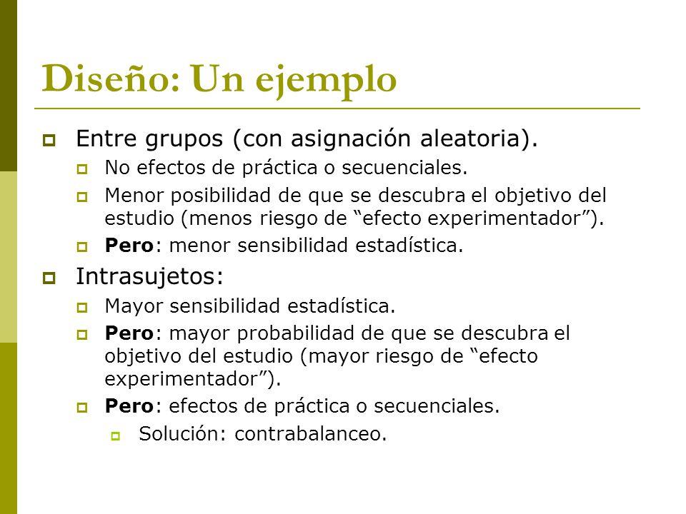 Diseño: Un ejemplo Entre grupos (con asignación aleatoria).