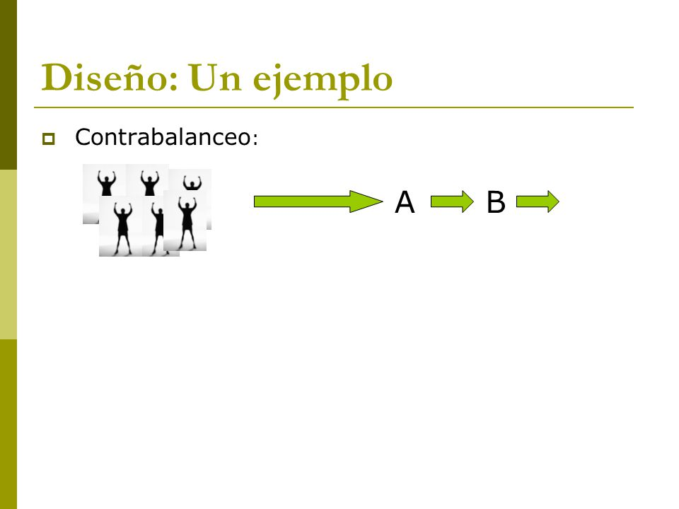 Diseño: Un ejemplo Contrabalanceo : AB
