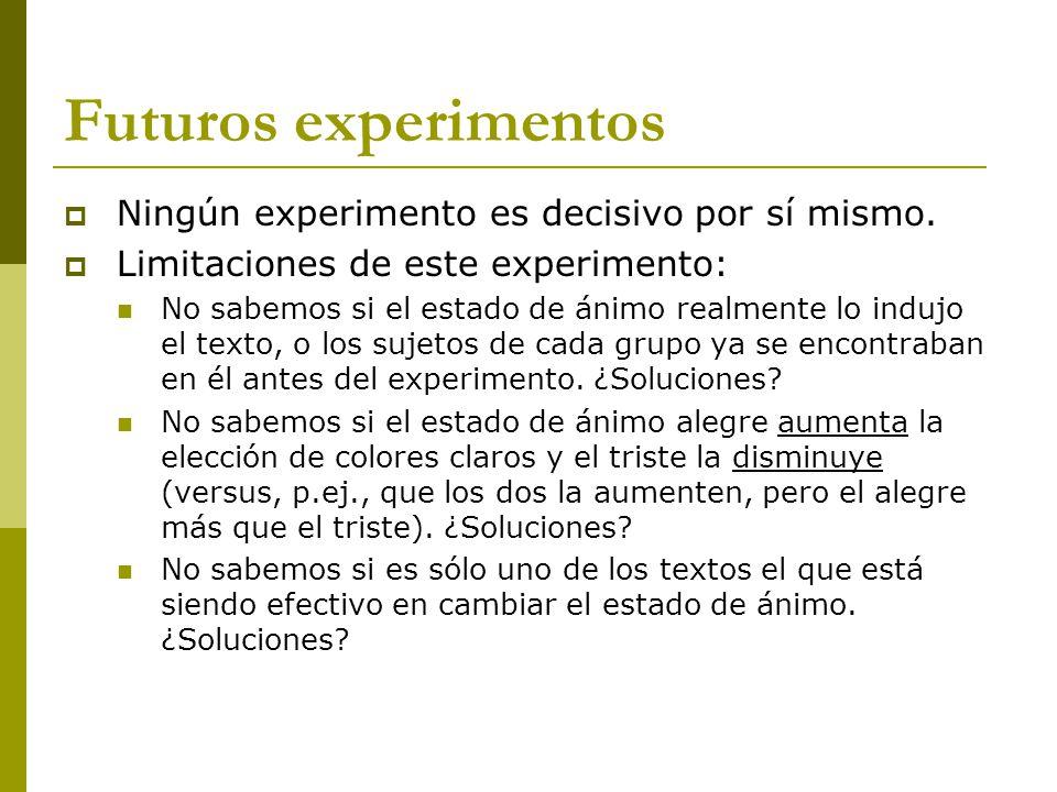 Futuros experimentos Ningún experimento es decisivo por sí mismo.