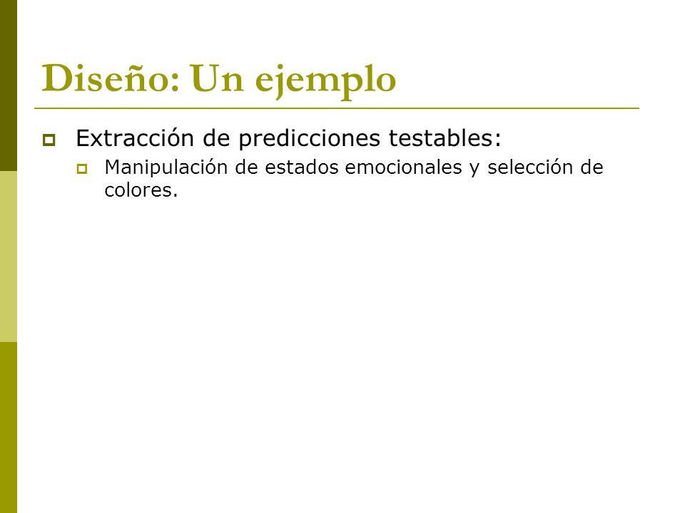 Diseño: Un ejemplo Extracción de predicciones testables: Manipulación de estados emocionales y selección de colores.