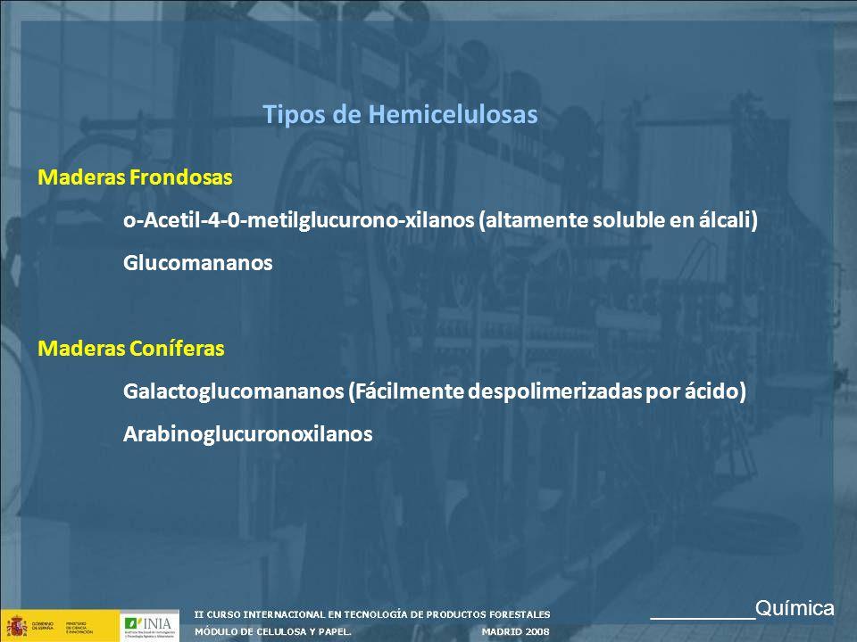 Tipos de Hemicelulosas Maderas Frondosas o-Acetil-4-0-metilglucurono-xilanos (altamente soluble en álcali) Glucomananos Maderas Coníferas Galactogluco