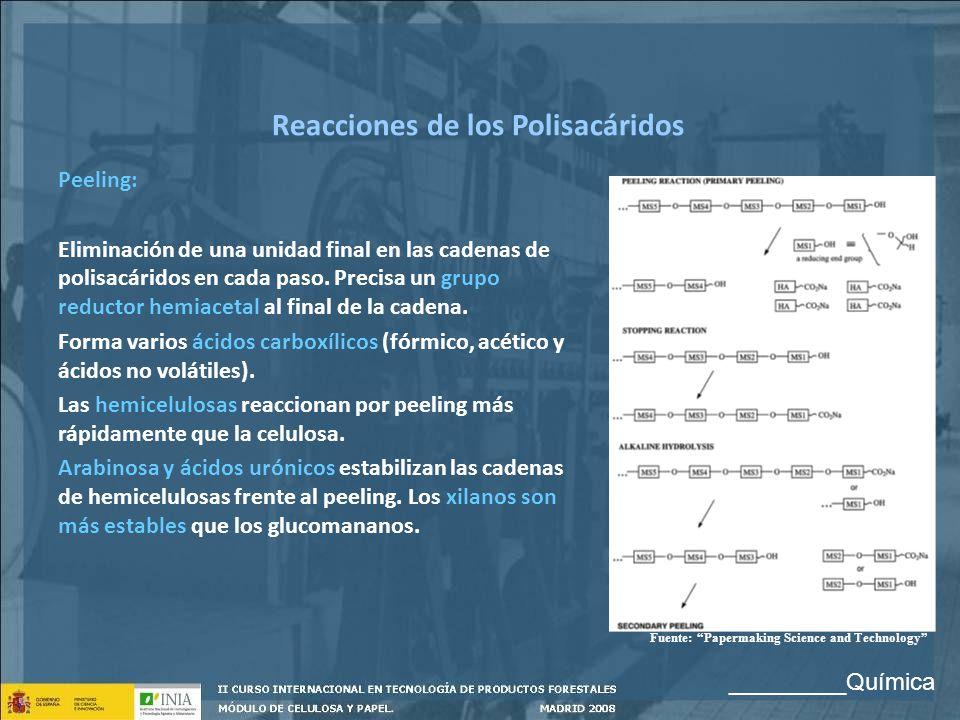Reacciones de los Polisacáridos Peeling: Eliminación de una unidad final en las cadenas de polisacáridos en cada paso. Precisa un grupo reductor hemia