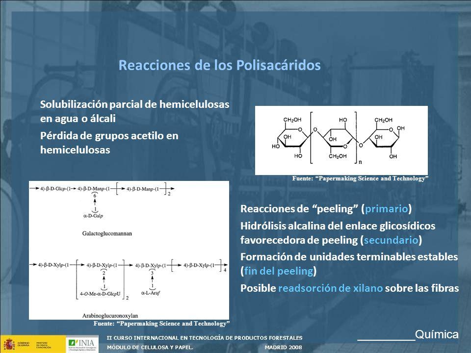 Solubilización parcial de hemicelulosas en agua o álcali Pérdida de grupos acetilo en hemicelulosas Reacciones de los Polisacáridos Reacciones de peel
