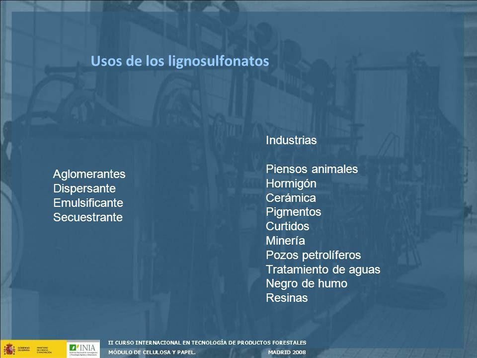 Usos de los lignosulfonatos Aglomerantes Dispersante Emulsificante Secuestrante Industrias Piensos animales Hormigón Cerámica Pigmentos Curtidos Miner