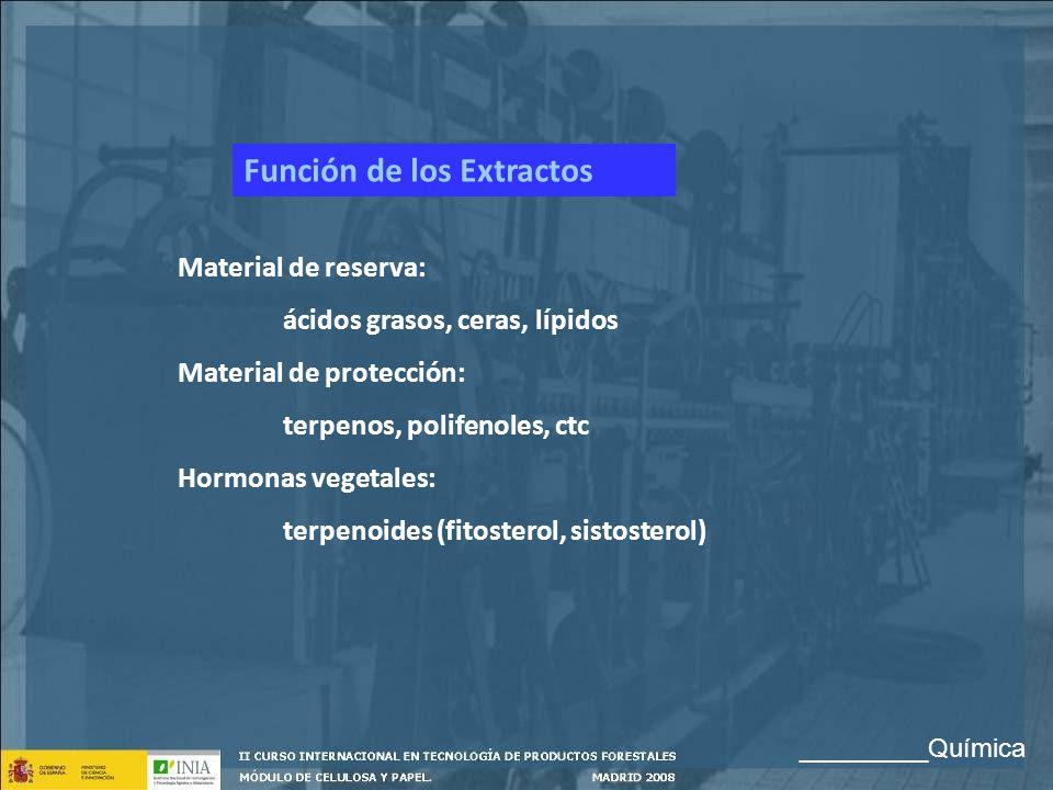 Función de los Extractos Material de reserva: ácidos grasos, ceras, lípidos Material de protección: terpenos, polifenoles, ctc Hormonas vegetales: ter