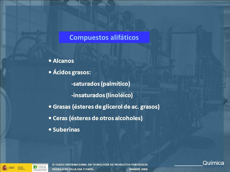 Compuestos alifáticos Alcanos Ácidos grasos: -saturados (palmítico) -insaturados (linoléico) Grasas (ésteres de glicerol de ac. grasos) Ceras (ésteres