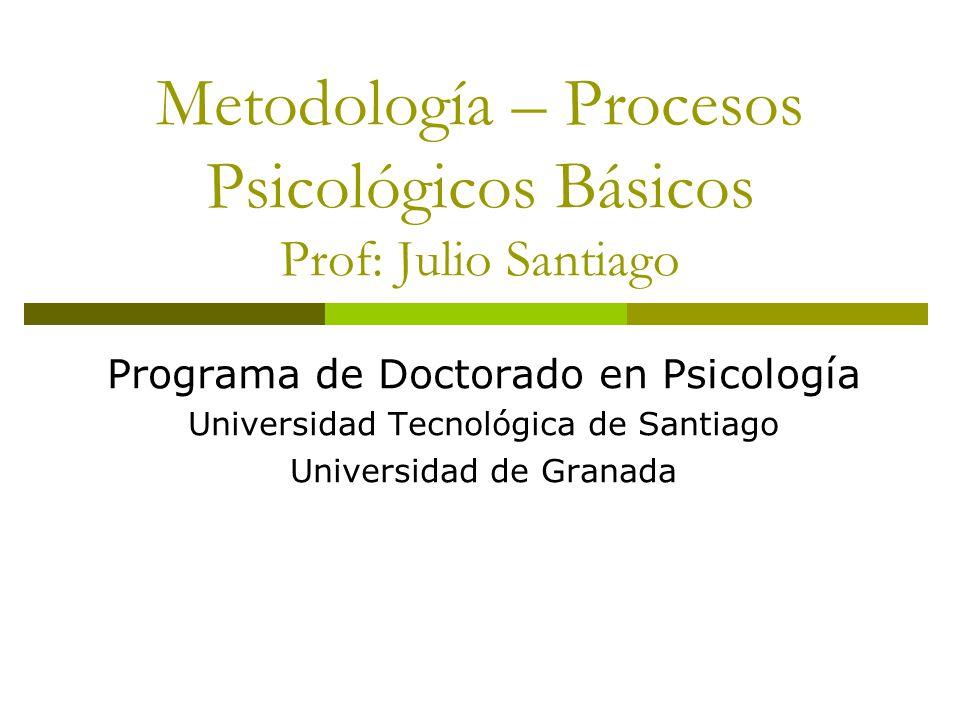 Metodología – Procesos Psicológicos Básicos Prof: Julio Santiago Programa de Doctorado en Psicología Universidad Tecnológica de Santiago Universidad de Granada
