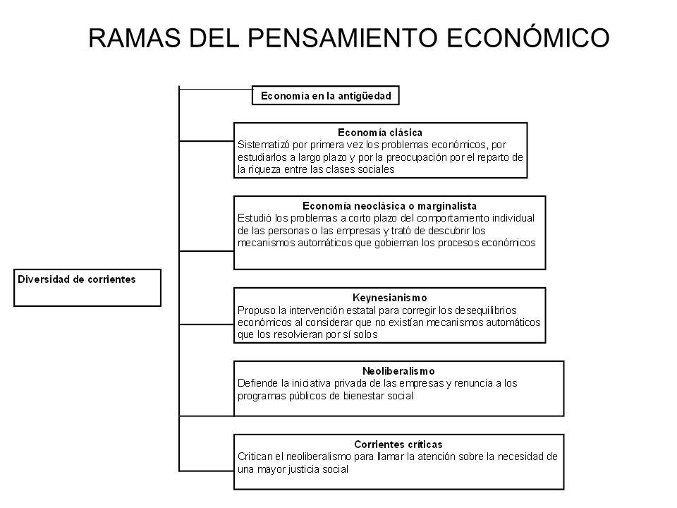 RAMAS DEL PENSAMIENTO ECONÓMICO