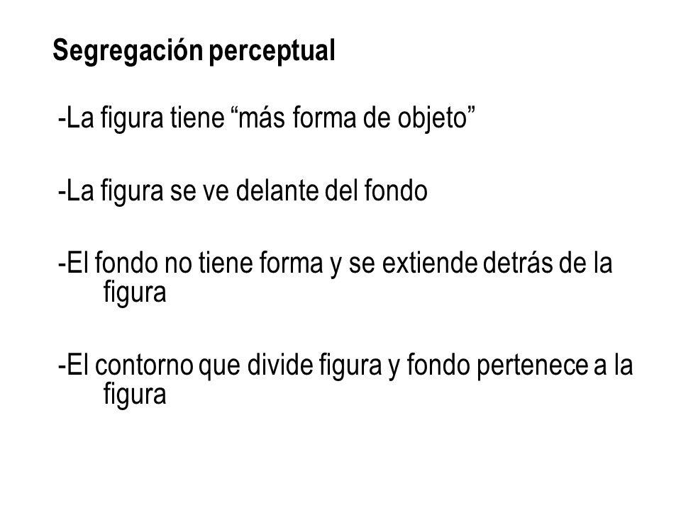 Segregación perceptual -La figura tiene más forma de objeto -La figura se ve delante del fondo -El fondo no tiene forma y se extiende detrás de la figura -El contorno que divide figura y fondo pertenece a la figura