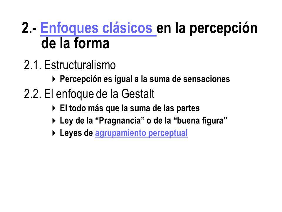2.1.Estructuralismo Percepción es igual a la suma de sensaciones 2.2.