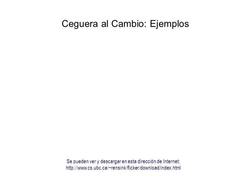 Ceguera al Cambio: Ejemplos Se pueden ver y descargar en esta dirección de Internet: http://www.cs.ubc.ca/~rensink/flicker/download/index.html