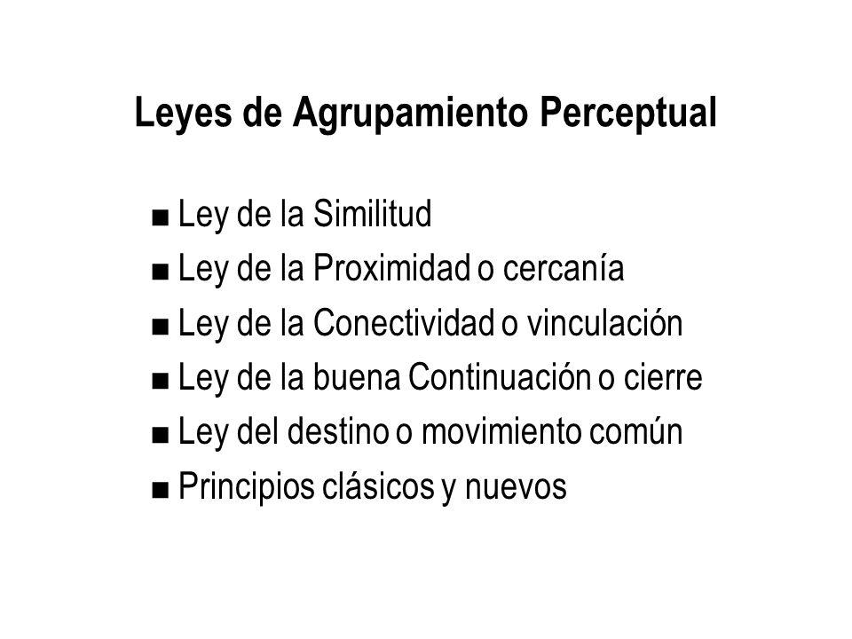 Leyes de Agrupamiento Perceptual Ley de la Similitud Ley de la Proximidad o cercanía Ley de la Conectividad o vinculación Ley de la buena Continuación o cierre Ley del destino o movimiento común Principios clásicos y nuevos